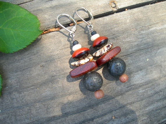 Dangle Wooden Bead Lava and Bone Earrings with Sterling Silver Hooks