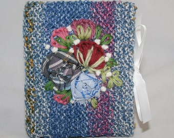 Knitted and Embroidered Needle Book - Fabric Roses on stripes