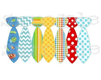 A Week of Ironon Boy Ties Bright Colors Set of 7 Ties-Baby Boy
