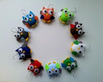 Ornament Owl SET of 10 Party Favor ECO FELT Softie Plushie Made to Order