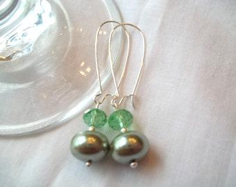 Beautiful Light Green Rondelle Earrings
