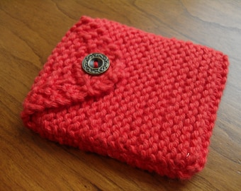 Hand knit cell phone case - Coral