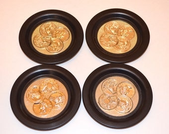 Vintage Coasters, Set of Four Historical US Coin Coasters, Memorabilia, Coin Collection, Collectible Coasters