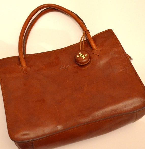 monsac copper brown leather vintage handbag by
