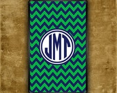Kindle Touch cover - Navy blue and green preppy Kindle Fire snap on cover with monogram (9693)