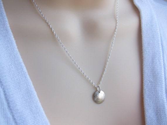 Silver Disc necklace  . Celebrities Necklace Sterling silver necklace