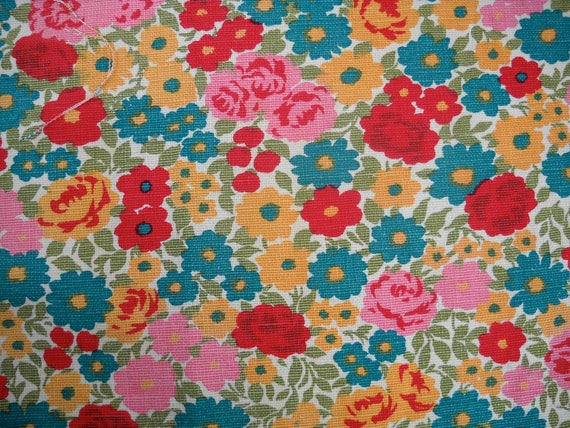 Vintage Floral Fabric in Turquoise, Red, Pink, and Marigold