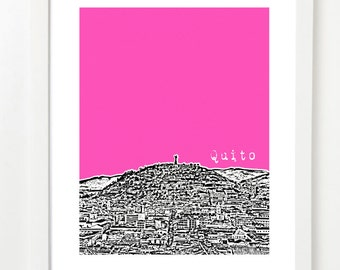 Quito Art Print - Ecuador Skyline Poster - City Skyline Print - VERSION 2