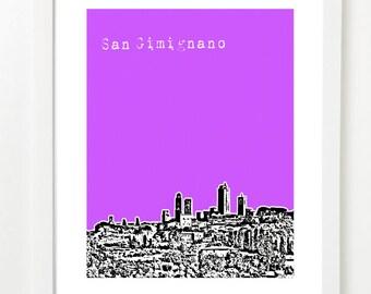 San Gimignano, Italy Poster - San Gimignano City Skyline Series Art Print - Tuscany Travel Art