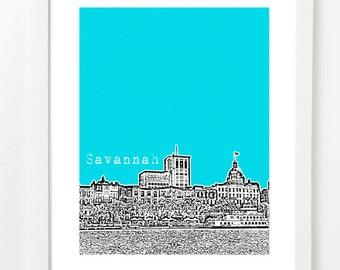 Savannah, Georgia Poster - Savannah City Skyline Art Print - Savannah Georgia - Savannah Wedding Gift