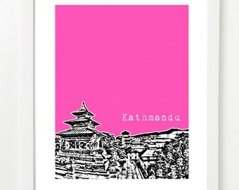 Kathmandu, Nepal Poster - Kathmandu Temples Art - Nepal City Skyline - VERSION 2