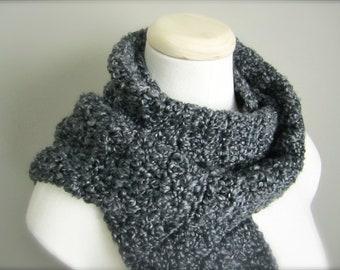 Crochet Charcoal Grey, Dark Grey Classic Fringe Scarf, Women's Scarf, Men's Scarf, Unisex Scarf