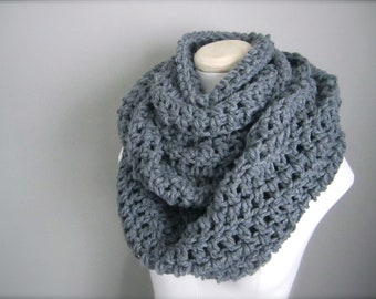 Crochet Chunky Thick Extra Long, Handmade Steel Grey, Charcoal Grey Cowl Infinity Scarf, Women's Scarf, Men's Scarf, Unisex Scarf