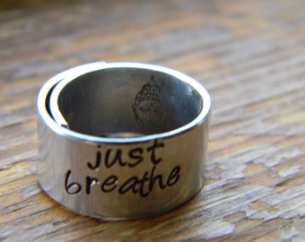 just breathe bouddha inside  3/8 inch wrapped  ring