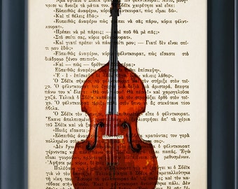 Contrabass - Double Bass Print on Vintage Book Page, Music Instrument, Wall Office Decoration, Buy 3 get 1 more for FREE 8.0x5.5in