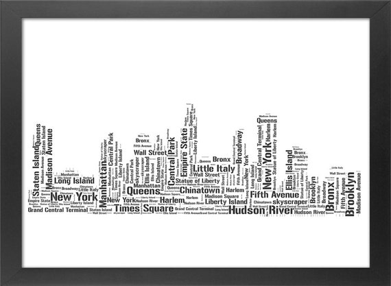 New York Skyline Typography Print - Black and White Cityscape Text Cloud Print - Home Room Wall Office Art Decor Gift - 8.3 x 11.7in