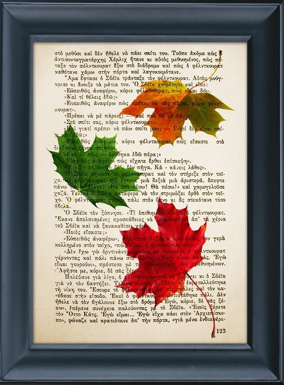 Back to School, Maple Leaves, Fall Autumn Mood, Vintage Book Page Nature Literature, Wall Office Decor, Buy 3 get 1 more for FREE -8.0x5.5in