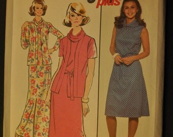 Misses' Dress in Two Lengths and Unlined Jacket Size 12 Uncut Vintage 1970s Sewing Pattern-Simplicity 8400