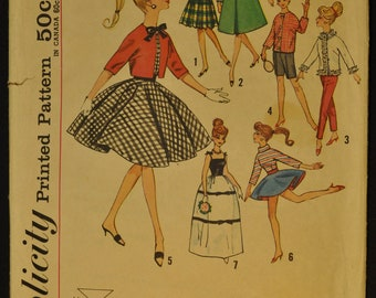Doll Clothes Including Teen Model Barbie Vintage 1960s Sewing Pattern-Simplicity 4700