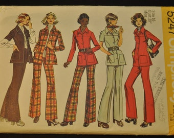 Unlined Shirt- Jacket and Pants in Misses Size 16 Uncut Vintage 1970s Sewing Pattern-Simplicity 5247