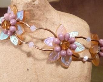 Gold and Mauve Beaded Flower Bracelet