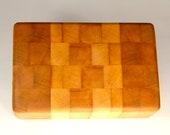 "Rock Maple End Grain Cheese Cutting Board Bar Snack  Rectangular Block 9.5"" x 6"" x3"""