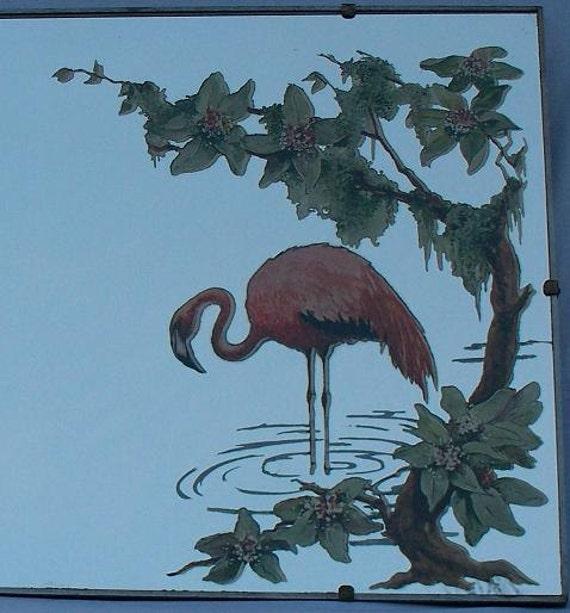 Vintage Mirror Pink Flamingo 1940s