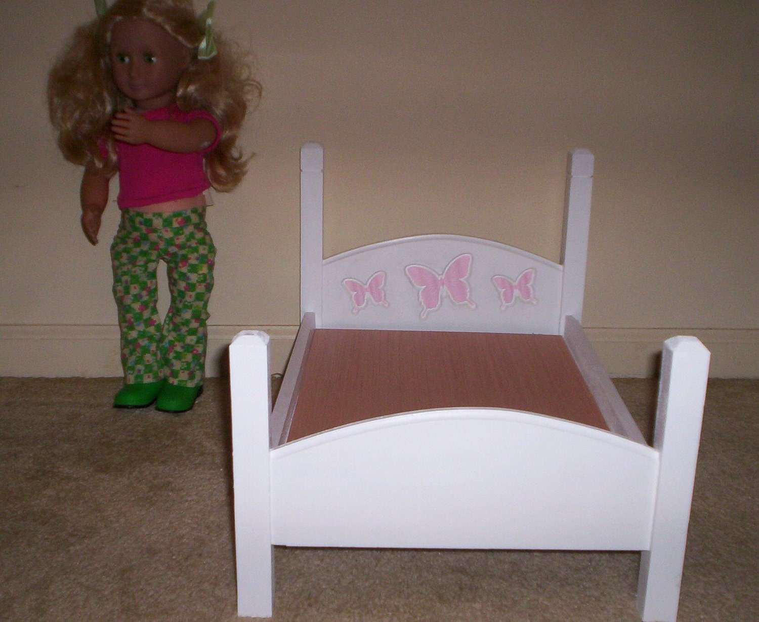 Marvelous photograph of handmade18 inch doll bed white with pink by cmcraftedtreasures with #413424 color and 1500x1229 pixels