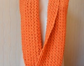 Orange Knitted Infinity Scarf, autumn accessory, winter accessory, long scarf, thick scarf, warm scarf
