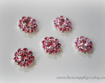 Metal Rhinestone Embellishments- PINK 14mm metal buttons with flat back- Your Choice: 1 piece, set of 5 or 10- MR179(Pink/Med)