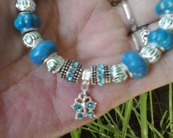 Blue wings in flight, Euro style bracelet