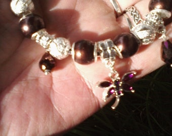 Purple wings and silver things, Euro style bracelet