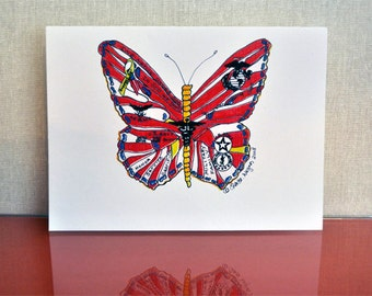 Patriotic Butterfly set of 8