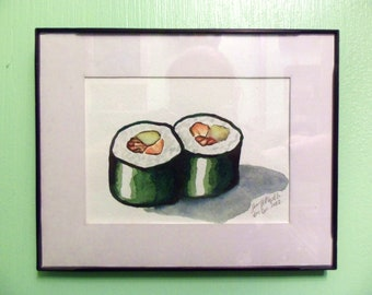 Sushi Twins 8x5 Original Watercolor