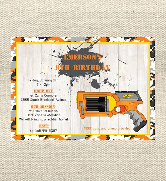 Printable Birthday Party Invitation Card Detroit Lions: 640 55 Kb Jpeg Nerf Gun Party Battle Boys Http