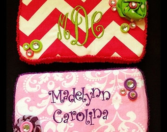 personalized fabric covered travel size wipes case polka dots ruffles fabric rosettes