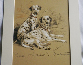 1937 Lucy Dawson Dalmatian puppy Vintage signed mounted dog plate print Unique Christmas Birthday gift