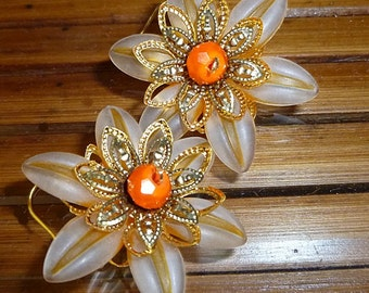 Striped flower earrings