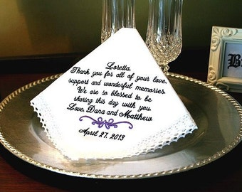 Grandmother  of the Bride Wedding Handkerchief - Thank you for  your LOVE, SUPPORT and MEMORIES -  Mom - Bridal  -Hankie - Hanky