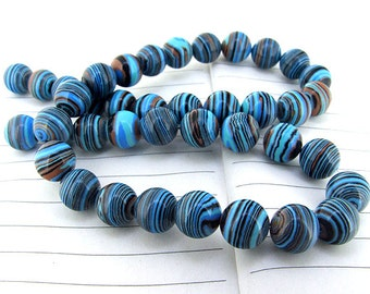 """Charm Round Blue malachite Jasper Gemstone Beads--- 10mm----about 40Pieces----15"""" in length"""