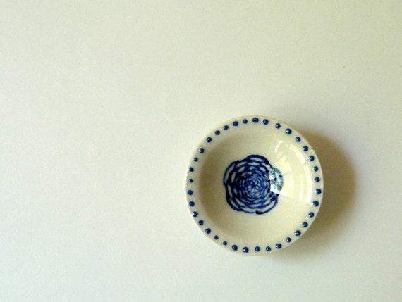 Miniature Porcelain Bowl, Hand Painted with Blue Dots