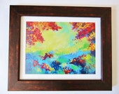 ON SALE - Fine Art Forest Painting Digital Print 9 x 12 Original Acrylic Painting Gift Under 30 Autumn Fall Colours Rainbow High Quality Art