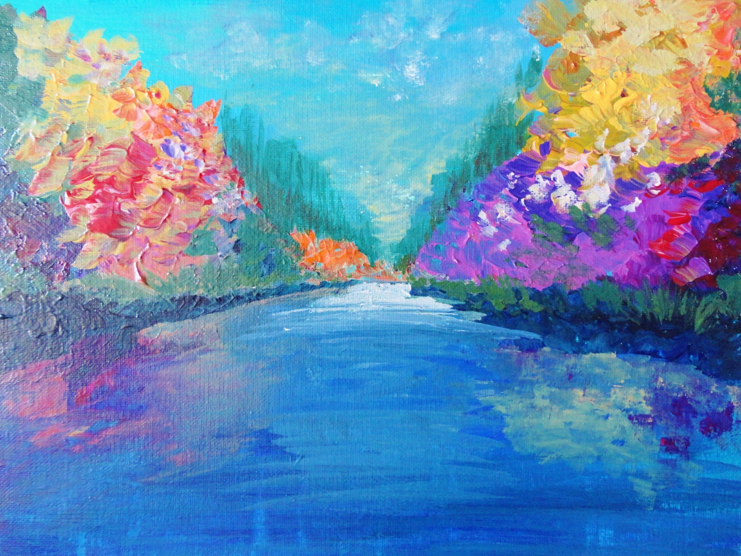 Sale colorful abstract landscape painting free shipping for Abstract nature painting
