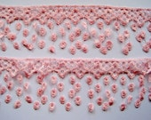 "Victorian Lace Fringe Trim, Pale Pink, 3 1/4"" inch wide, 1 Yard, For Victorian & Romantic Projects"