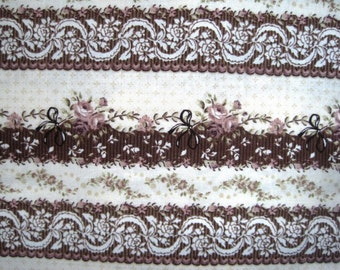 "Vintage Feminine Stripes Fabric, Fat Quarter, Multicolor, 18"" X 22"" inches, 100% Cotton, For Victorian & Romantic Projects"