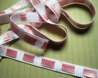 """Pull Through Insertion Ribbon Trim, Pink / White, 5/8"""" inch, 1 Yard, For Scrapbook, Stationary, Accesories, Home Decor, Romantic Crafts"""