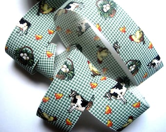 """Barnyard Cotton Ribbon Trim, Multi / Green, 1 7/8"""" inch wide, 1 yard, For Mixed Media, Gifts, Scrapbook,  Home Decor, Accessories"""