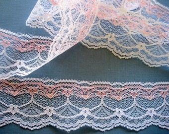 """Shabby Romantic Lace Trim, White / Baby Pink, 2"""" inch wide, 1 Yard, For Victorian & Romantic Projects"""