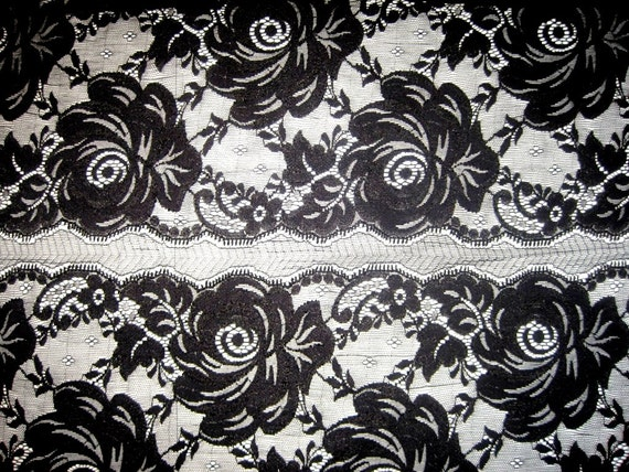 "Extra Wide Stretch Floral Lace, Black, 14"" inch wide, 1 Yard For Apparel, Home Decor, Accessories, Victorian & Romantic Crafts"