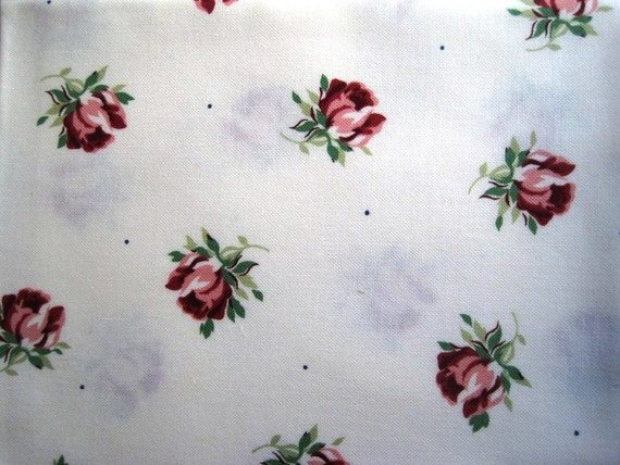 """Cottage Rose Buds Fabric, Fat Quarter,  Multicolor / White, 18"""" X 21"""" inches, 100% Cotton, For Victorian & Romantic Projects"""